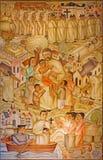 Leuven - St. Damien de Vesper inter his leprous. Modern paint by Marcel Laforet. From st. Anthony church Stock Photo