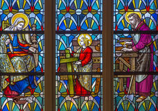 Leuven - St. Joseph from windowpane in st. Anthony church from 19. cent. Royalty Free Stock Photo