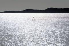Levántese a las personas que practica surf de la paleta Imagenes de archivo