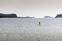 Levántese a las personas que practica surf de la paleta Imágenes de archivo libres de regalías