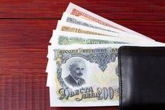 Lev bulgare dans le portefeuille noir Photographie stock