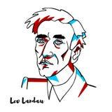 Lev Landau Portrait illustration stock