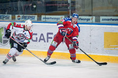 Lev Prague vs. Donbass Donetsk. (20. March 2014) in Prague. Jakub Matai (right) of Lev royalty free stock photos