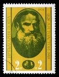 Lev Tolstoy 1828-1910 russische Verfasser, Jahrestag 100 von lizenzfreie stockfotografie