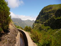 Levada. Walkway through levada of Madeira Stock Photos