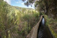 Levada das 25 fontes, touristic hiking trail, Rabacal, Madeira island, Portugal. Levada do Risco, touristic hiking trail, Rabacal, Madeira island, Portugal Stock Images
