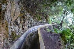 Levada dos托诺斯:Camacha的Monte,灌溉运河的类型,马德拉岛 库存照片