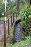 Levada Walk Path Located up in the Hills of Madeira - a Perfect Location for Hiking! stock images