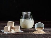 Levadura presionada fresca, levadura inmediata seca y arrancador activo del pan amargo del trigo en la tabla de madera Imagen de archivo libre de regalías