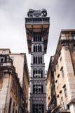 Levage de Santa Justa à Lisbonne, Portugal Le point de repère célèbre f de ville image libre de droits
