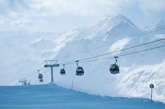 Levage de ski de cabine Photographie stock