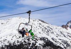 Levage de ski Ski Resort Meribel Photographie stock libre de droits