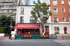 Levallois-Perret, France, wine bar and restaurant royalty free stock image