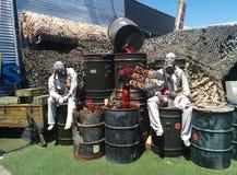 Levande död på trummor på levande dödapokalypslagret i Vegas Arkivbild