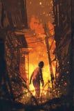 Levande död som tillbaka ser med brinnande stadsbakgrund stock illustrationer