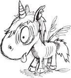 Levande död Unicorn Sketch Royaltyfri Fotografi