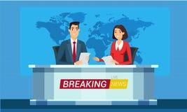 Levande illustration för breaking newstecknad filmvektor vektor illustrationer