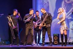 Levande konsert för musikband royaltyfri fotografi