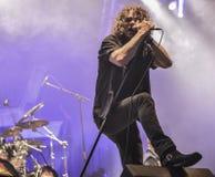 Levande konsert 2016 för Overkillmetallmusikband Royaltyfri Fotografi