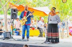 Levande presentationer av lokala musiker på en offentlig fyrkant royaltyfri fotografi