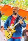 Levande presentationer av lokala musiker på en offentlig fyrkant royaltyfria bilder