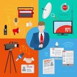 Levande rapport eller levande nyheterna Arkivbild