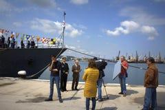 Levande TV sänder från port Varna, Bulgarien Royaltyfri Foto