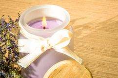 Levander candle Stock Photo