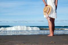 Levandosi in piedi alla spiaggia Fotografia Stock
