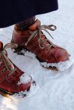 Levandosi in piedi sulla neve immagini stock
