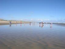 Levandosi in piedi sulla spiaggia Fotografia Stock Libera da Diritti