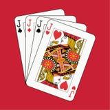 Levanta o póquer no vermelho Foto de Stock Royalty Free