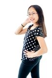 Levantamento asiático seguro da menina do Tween Fotografia de Stock