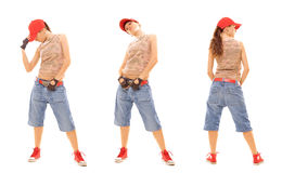 Levantamento atrativo do breakdancer Fotos de Stock Royalty Free