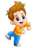 Levantamento bonito dos desenhos animados do menino Imagens de Stock Royalty Free