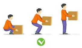 Levantamento correto da segurança da ilustração pesada do vetor da caixa Fotografia de Stock