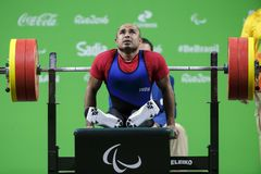 Levantamento de peso do jogo 2016 de Brasil - de Rio De janeiro - de Paralympic Fotos de Stock Royalty Free