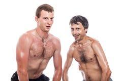 Levantamento descamisado engraçado dos homens Foto de Stock Royalty Free