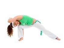 Levantamento do dançarino do capoeira da menina fotos de stock