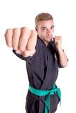 Levantamento do lutador do karaté foto de stock