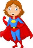 Levantamento fêmea do super-herói dos desenhos animados Imagens de Stock Royalty Free
