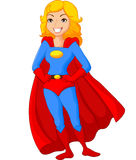 Levantamento fêmea do super-herói dos desenhos animados Fotografia de Stock Royalty Free