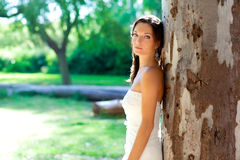 Levantamento feliz da mulher da noiva na árvore ao ar livre Imagem de Stock Royalty Free