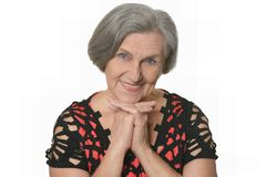 Levantamento idoso agradável da mulher Imagem de Stock Royalty Free