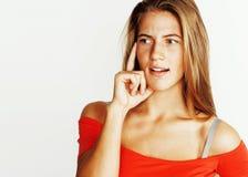 Levantamento louro bonito novo da menina emocional no isolador branco do fundo Fotos de Stock Royalty Free