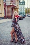 Levantamento louro de sorriso feliz bonito da mulher, olhando a câmera Fotografia de Stock