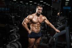 Levantamento modelo da aptidão atlética muscular do halterofilista após exercis foto de stock royalty free