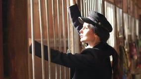 Levantamento modelo no estábulo em uma exploração agrícola do cavalo Movimento lento vídeos de arquivo