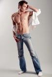 Levantamento muscular do homem fotografia de stock royalty free