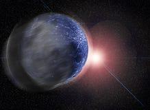Levantamiento de la luna azul Imagen de archivo libre de regalías